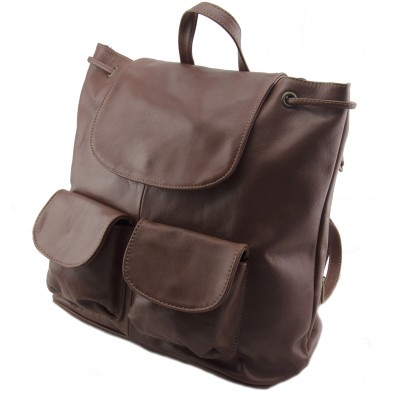 Genuine Leather Shoulderbag, backpack made in Italy -  Cindy Brown Sky