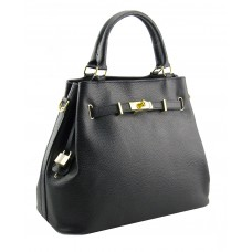 Genuine Leather handbag, made in Italy -  Alyssa Black Sky