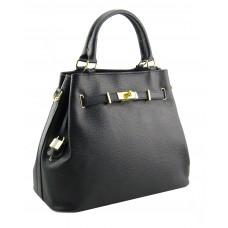 Genuine Leather handbag, made in Italy -  Alyssa Black Sky