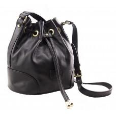 Genuine Leather handbag, made in Italy -  Brenda Black Sky