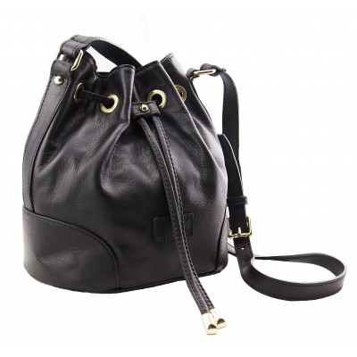 Genuine Leather handbag, made in Italy -  Brenda Black Sky
