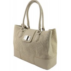 Italian Made, Genuine Leather Handbag - Sandra Taupe Sky