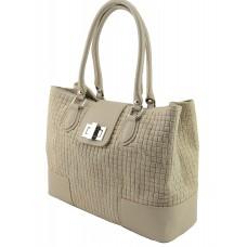 Italian Made, Genuine Leather Handbag - Sandra Taupe Sky