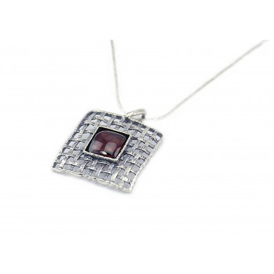 Square Silver Pendent/Necklace with Red Garnet Stone Made in Israel