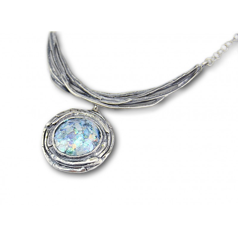 Sterling Silver Necklace With Ancient Roman Glass