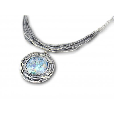Silver Necklace with Ancient Roman Glass Made in Israel