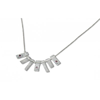 Silver Necklace with Garnet Stones Made in Israel