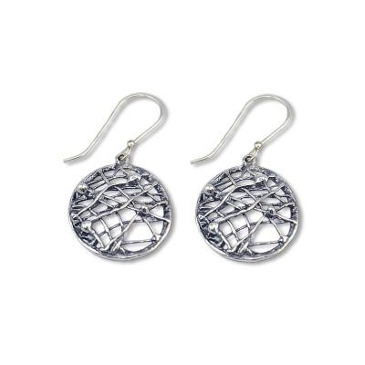 Silver crisscross Earrings Made in Israel