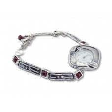 Silver Watch with Red Garnet Stones Made in Israel