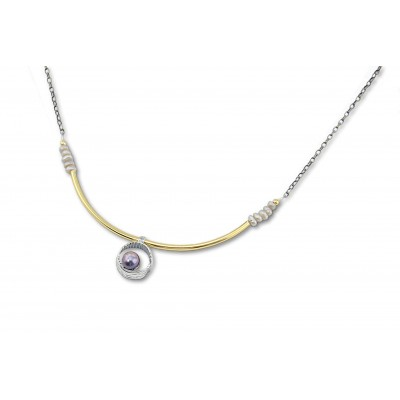 Silver with Gold (plated) Pearls Necklace With Peacok Perl Made in Israel