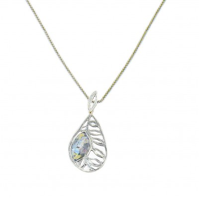 Silver Necklace with Ancient Roman Glass Leaf Pendant  Made in Israel
