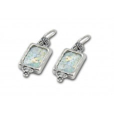 Silver Earrings With Ancient Roman Glass Made in Israel