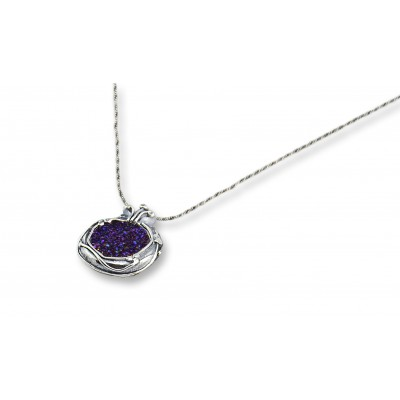 Silver and Purple Druzy Stone Pomegranate Necklace Made in Israel