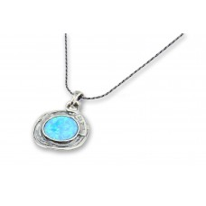 Silver Necklace with Opal center stone Made in Israel