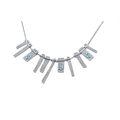 Silver Necklace with Opal Stones Made in Israel