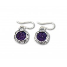 Sterling Silver Earrings Pomegranate Style with Purple Druzy Stones Made in Israel