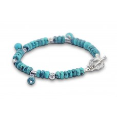 Turquoise and sterling silver good-luck (Hamsa) bracelet - Made in Israel