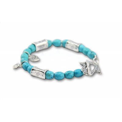 Good Luck (Hamsa) Bracelet with Turquoise Howlite Stones Made in Israel