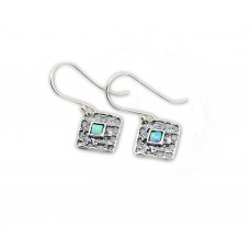 Sterling Silver Earrings With Opal Stones made in Israel