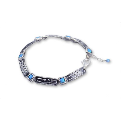 Silver Bracelet featuring Opal Stones Made in Israel