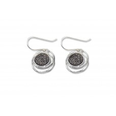 Sterling Silver Earrings with silver coloured Druzy Stone Made in Israel